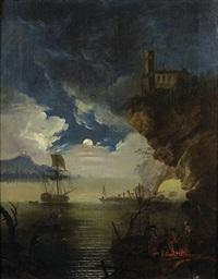 vue d'une côte rocheuse avec un campement by jean henry d' arles
