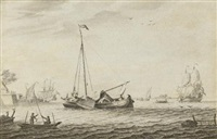 a kaag and other vessels by adriaen van salm