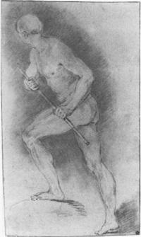 académie d'homme tenant un bâton by françois (le moine) le moyne