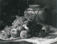 still life of grapes, peaches, a glass and a vase by boomgan