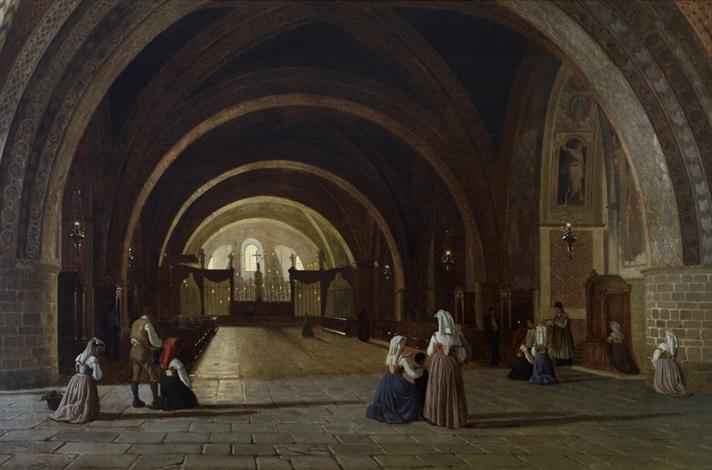 devozione interno della basilica di san francesco in assisi by luigi premazzi