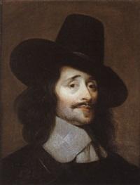 portrait d'homme au chapeau noir by le nain brothers