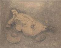 une fille allongée by boris zaborov