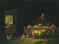 barn interior with a shepherd, sheep, a goat, a dog, and a cockerel by hubert van ravesteyn