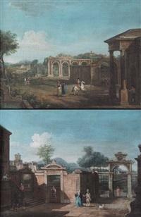 paesaggio con cortile di villa e figure (+ paesaggio con ruderi e figure; pair) by francesco battaglioli