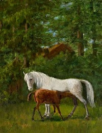 horses in a landscape by agnes cathinka vilhelmine lunn