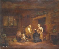 a family in a cottage interior by maria spilsbury