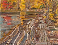 log dam, glen tay river by ralph wallace burton
