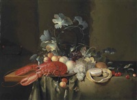 a lobster on a pewter platter, a roemer, peaches, grapes, cherries and a partly-peeled lemon, on a draped table by laurens craen