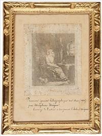 la jeune fille filant sa quenouille by joseph-nicephore niepce