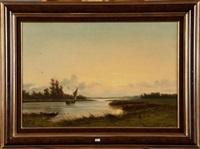 coucher du soleil sur la rivière animée by johannes joseph destree