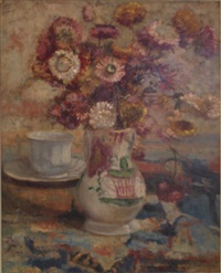 bouquet d'asters dans un vase de faïence by armand laureys