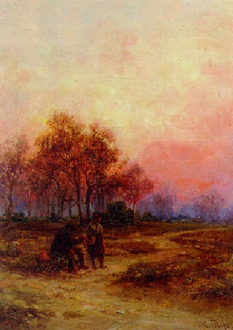 sunset over clapham common by charles fisher