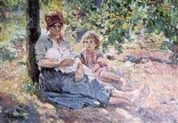 mère et enfants dans un parc by alfredo vaccari