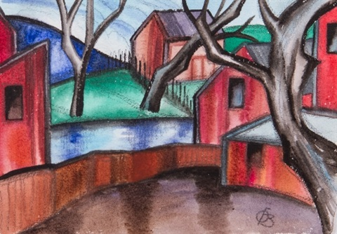 village scene by oscar florianus bluemner