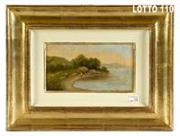 ansa di lago con figura sulla riva by silvio poma