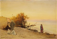 evening at the bank of the nile by max friedrich rabes