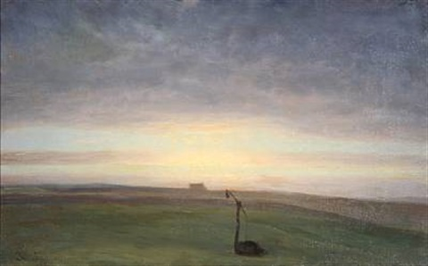 field landscape at sunrise by julius paulsen
