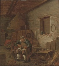 a cobbler in his workshop by gillis rombouts