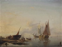 activities on a calm river in summer by hermanus willem koekkoek
