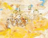 sa majesté le roi mohammed v entouré de sa garde noire devant le palais impérial de fès - maroc by patrice laurioz