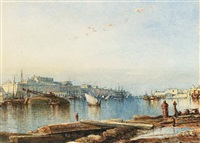 valletta and the grand harbour, malta by colonel edmund gilling hallewell