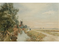 canal scene with windmill by tom scott