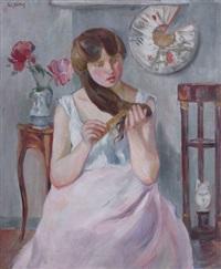 jeune-fille à sa coiffure by paule gobillard