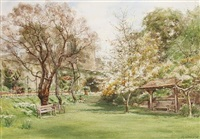 spring in norman tower garden, windsor castle (+ fountain terrace, norman tower garden, windsor; 2 works) by cyril ward