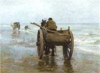 charrettes sur la plage by edgard farasyn