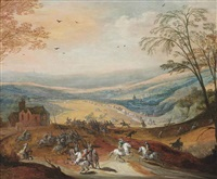 a cavalry skirmish in a hilly landscape, a convoy beyond by philips de momper the elder