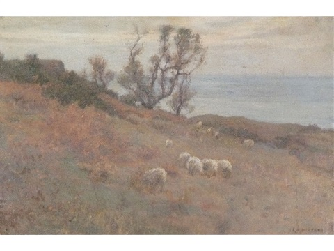 sea view runswick bay with cottage and trees sheep in the foreground by frederick william jackson