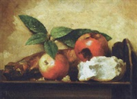 still life with bread and apples by robert mannix