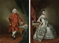 portrait of a gentleman in a red velvet suit(+ portrait of a lady in an oyster satin dress; pair) by edward alcock