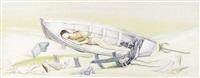 jeune garçon endormi dans une barque by jellal ben abdallah
