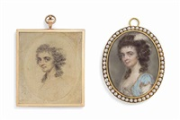 a preparatory drawing on paper together with the finished miniature of a lady, in a white dress with blue surcoat, an ostrich feather in her... (2 works) by john smart the elder
