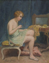 femme dans un intérieur recousant by louise amelie landre