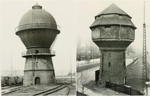 water tower, trier-ehrang, germany; water tower, bischofsheim, mainz, germany (in 2 parts) by bernd and hilla becher