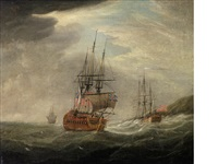 his majesty's frigate unicorn sailing down the coast in company with an admiralty yacht (+ and unicorn, in three positions, driven close inshore by heavy weather; pair) by francis swaine