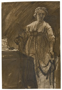a young woman standing by a table by ferdinand bol