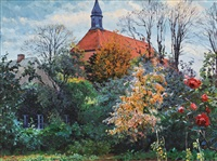 landscape with church by walter voltmer