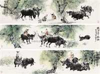 牧牛图 (3 works) by deng jingmin