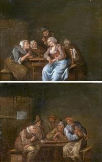 intérieurs de taverne (pair) by egbert van heemskerck