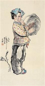 小女孩 立轴 纸本 by liu wenxi
