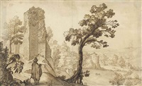 a landscape with a ruined tower and a town, an artist drawing in the foreground by remigio cantagallina