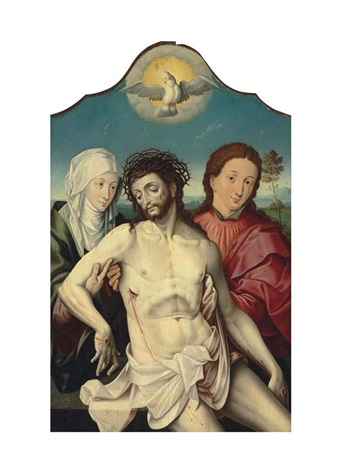 the dead christ supported by the virgin and saint john the evangelist by the pseudo lombard