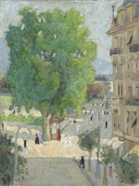 a french street scene by pierre adolphe valette