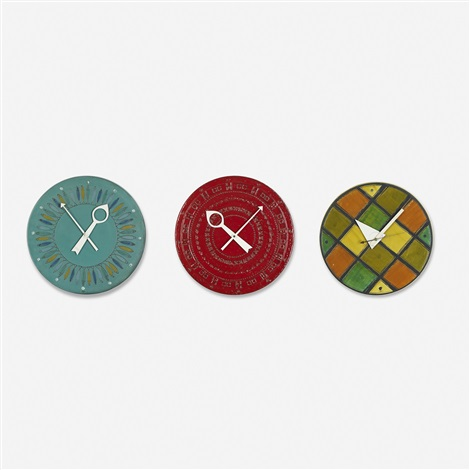 collection of eighteen meridian wallclocks by george nelson associates