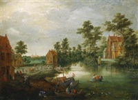 a river landscape with figures unloading their boats beside a village by peter gysels