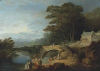 rosewell castle, north wales, with washerwomen in the foreground and a bridge beyond by julius caesar ibbetson